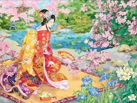 Diamanttavla Geisha in Garden 40x50