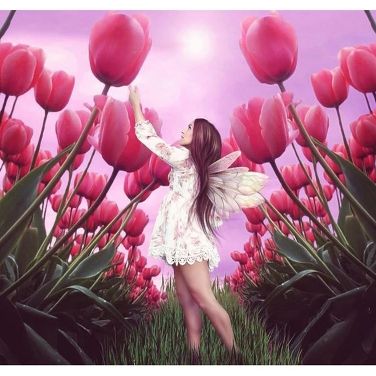 Diamanttavla Tulip Fairy 40x40