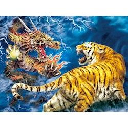 Diamanttavla Tiger And Dragon Fight 40x50