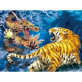 Diamanttavla Tiger And Dragon Fight 40x50