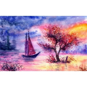 SNART I BUTIK - Diamanttavla Sunset Sailing 40x50