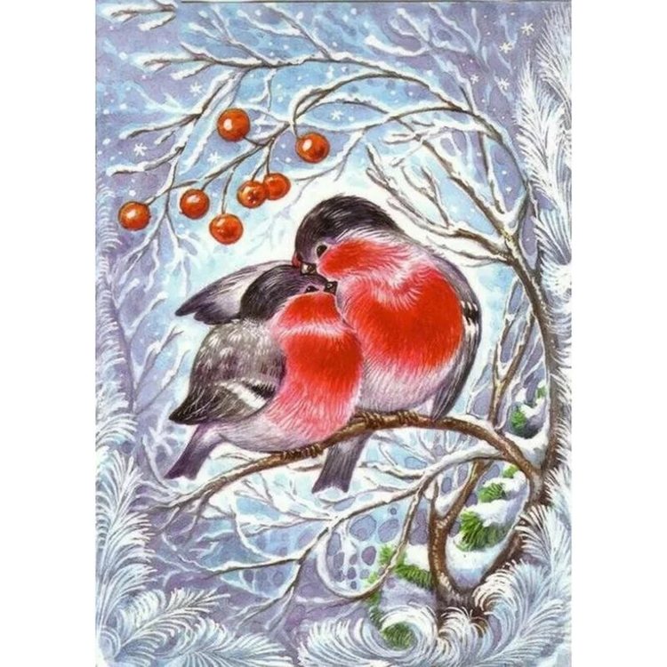 Diamanttavla Winterbirds Couple 30x40