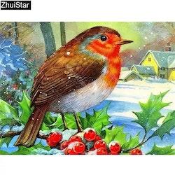 Diamanttavla  Winterbird Red Berrie 30x40