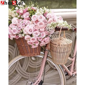 Diamanttavla Bicycle And Roses 40x50