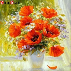 Diamanttavla Poppy In Window 40x40