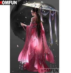 Diamanttavla Geisha Black Moon 40x50