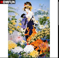 Diamanttavla Geisha Flowers 40x50