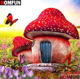 Diamanttavla (R) Mushroom House 40x40