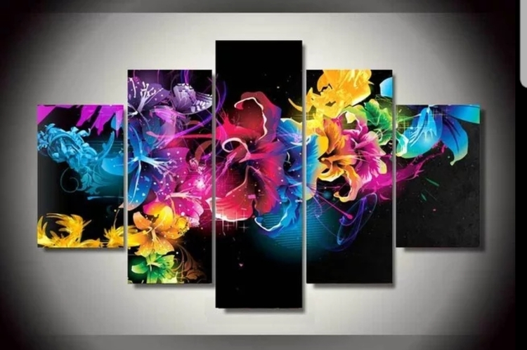 Diamanttavla 5 Delad Color Flowers