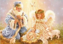 SNART I BUTIK  - Diamsnttavla Santa Holy Time 40x50