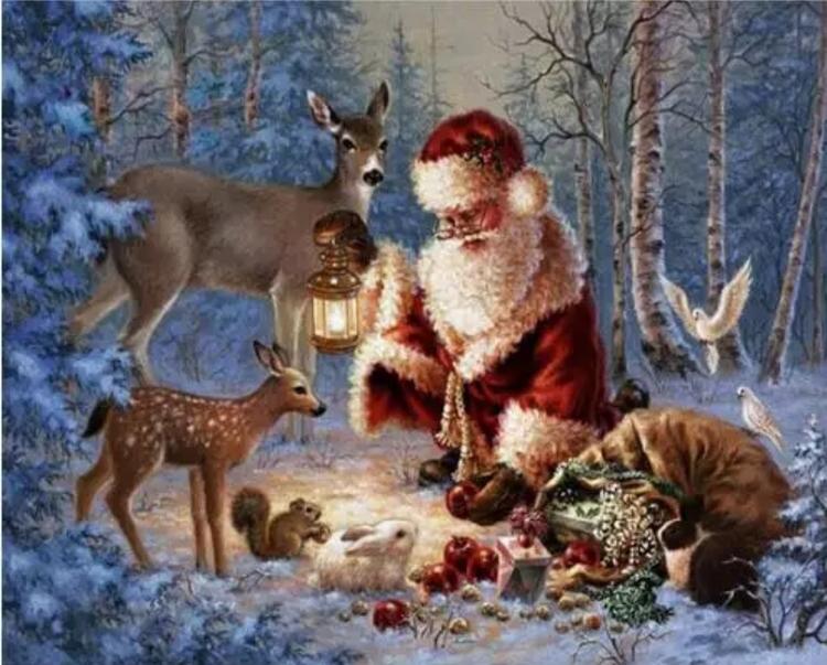 Diamanttavla  Santa In Wood 40x50
