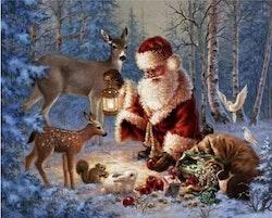 SNART I BUTIK  - Diamanttavla  Santa In Wood 40x50