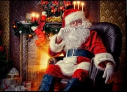 SNART I BUTIK  - Diamanttavla  Santa In Chair 40x50