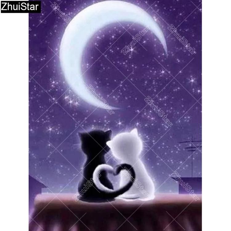 Diamanttavla Love Cats Moonlight 30x40