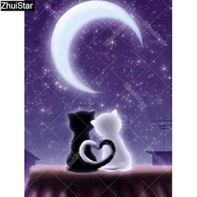 Diamanttavla Love Cats Moonlight 30x40