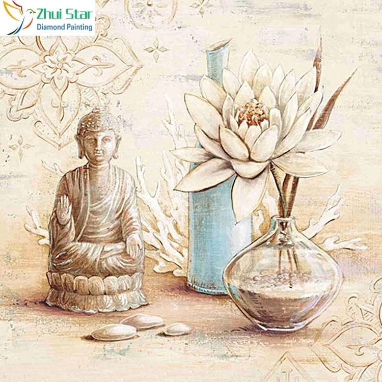 Diamanttavla Buddha And Lotus In Vase 40x40