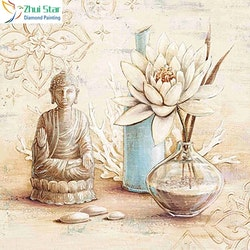 Diamanttavla Buddha And Lotus In Vase 40x40