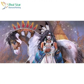 Diamanttavla  Indian Girl And Horse 40x80