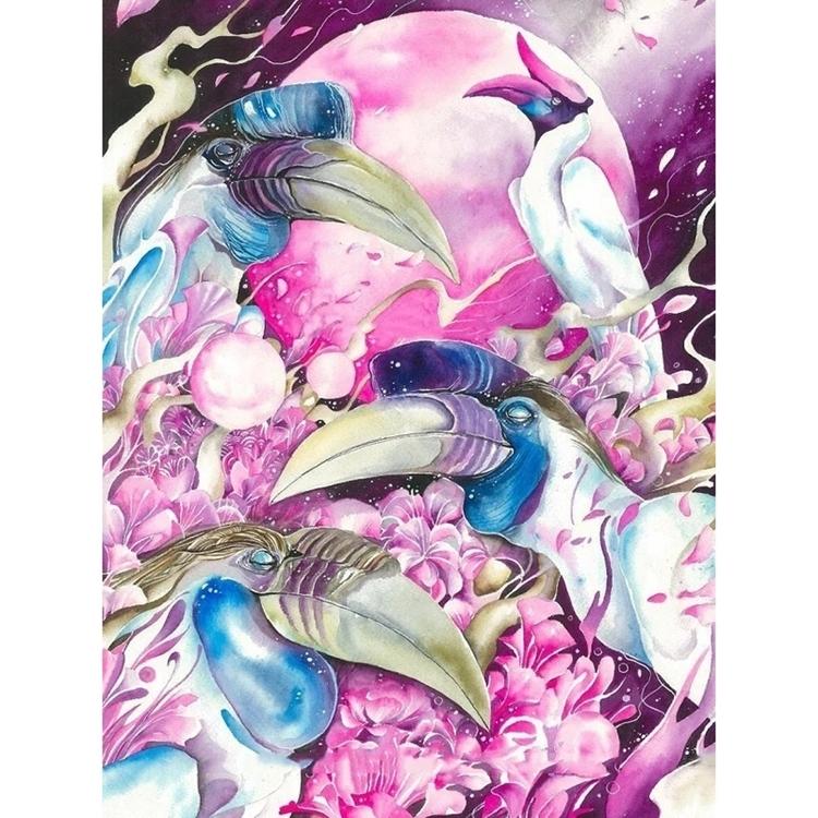 Diamanttavla Birds Pink Moon 40x50