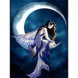 Diamanttavla Butterfly Fairy On Moon