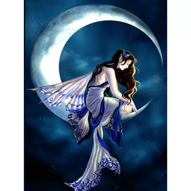 Diamanttavla Butterfly Fairy On Moon