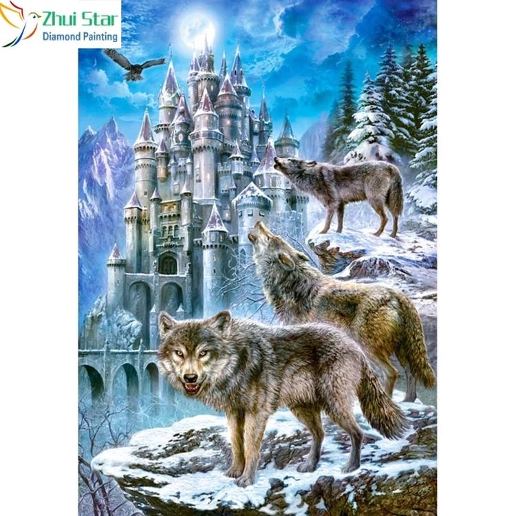 Diamanttavla Wolf And Castle 50x60