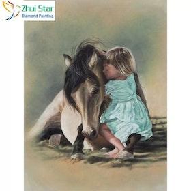 Diamanttavla Girl And Horse 40x50