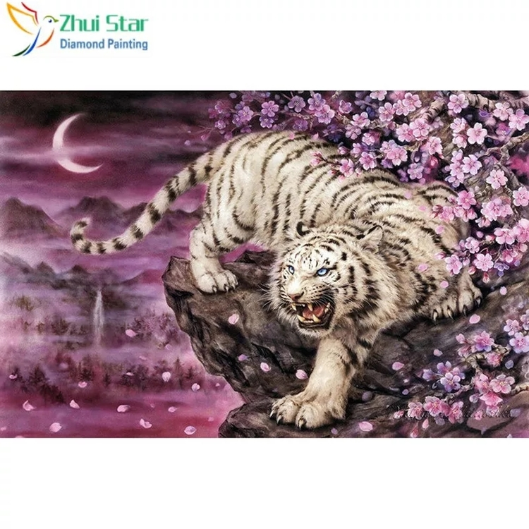 Diamanttavla Tiger Pink Flowers 50x60