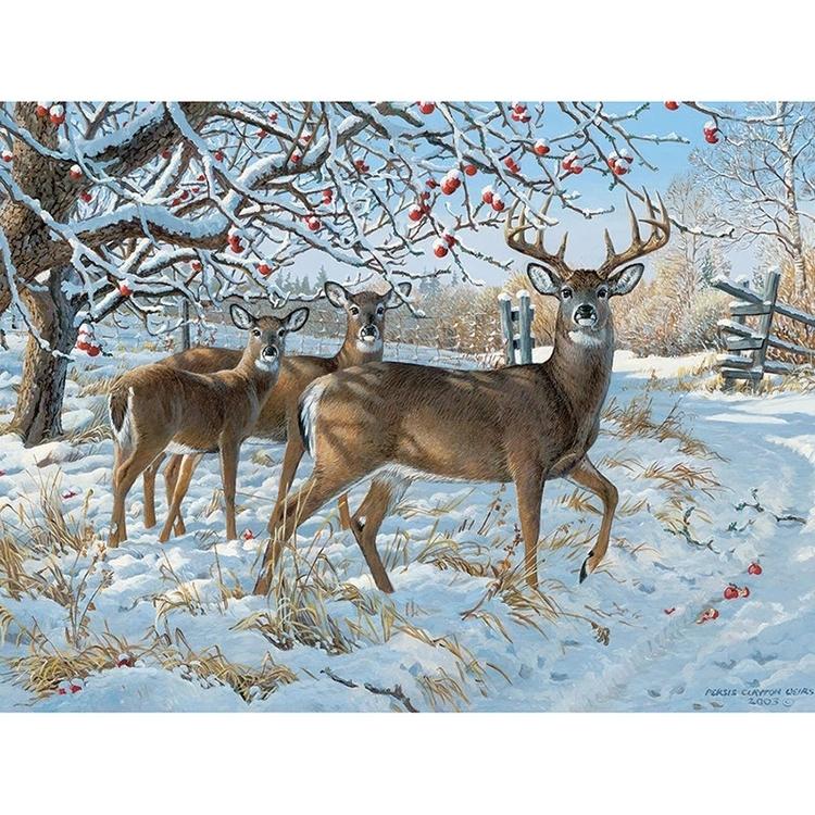 Diamanttavla Winter Deers 40x50