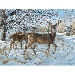 Diamanttavla Winter Deers 50x70