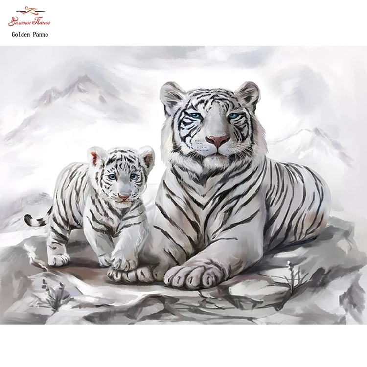 Diamanttavla White Tiger And Baby 40x50