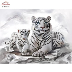Diamanttavla White Tiger And Baby 40x50
