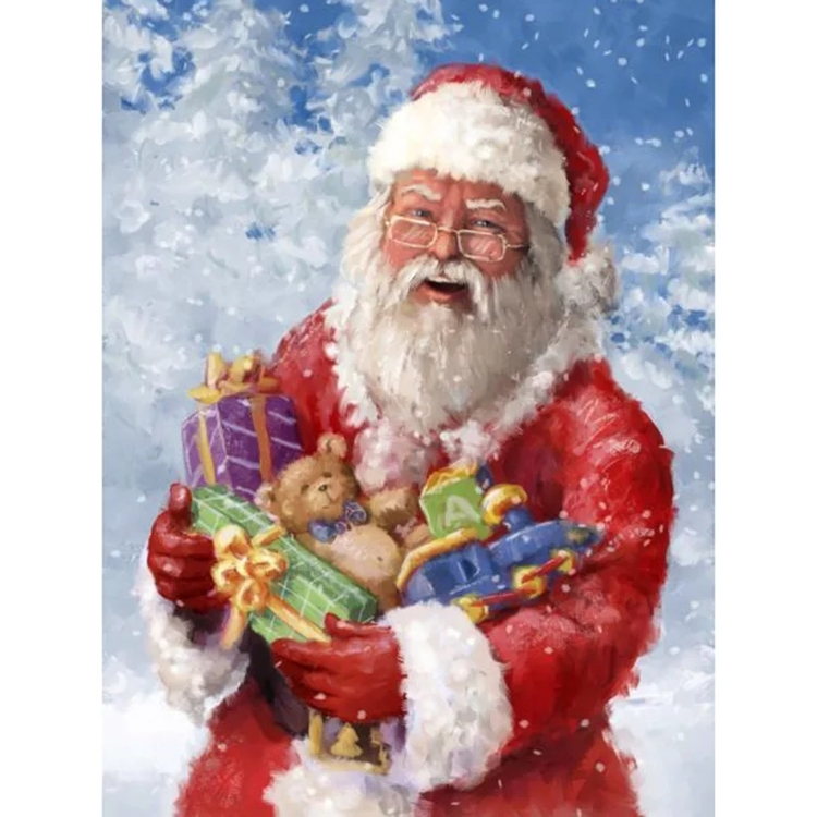 Diamanttavla (R) Happy Santa 50x70