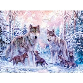 Diamanttavla Wolf Family 40x50
