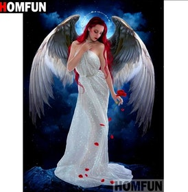 Diamanttavla Angel With Rose 40x50