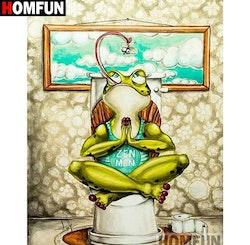 Diamanttavla Toilet Frog Yoga 30x40