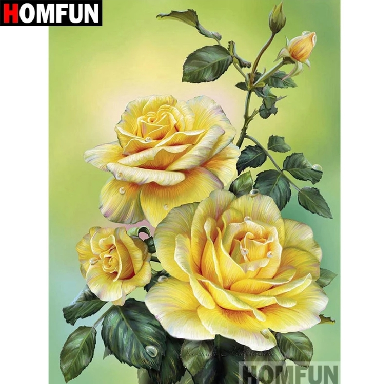 Diamanttavla (R) Yellow Rose 40x50