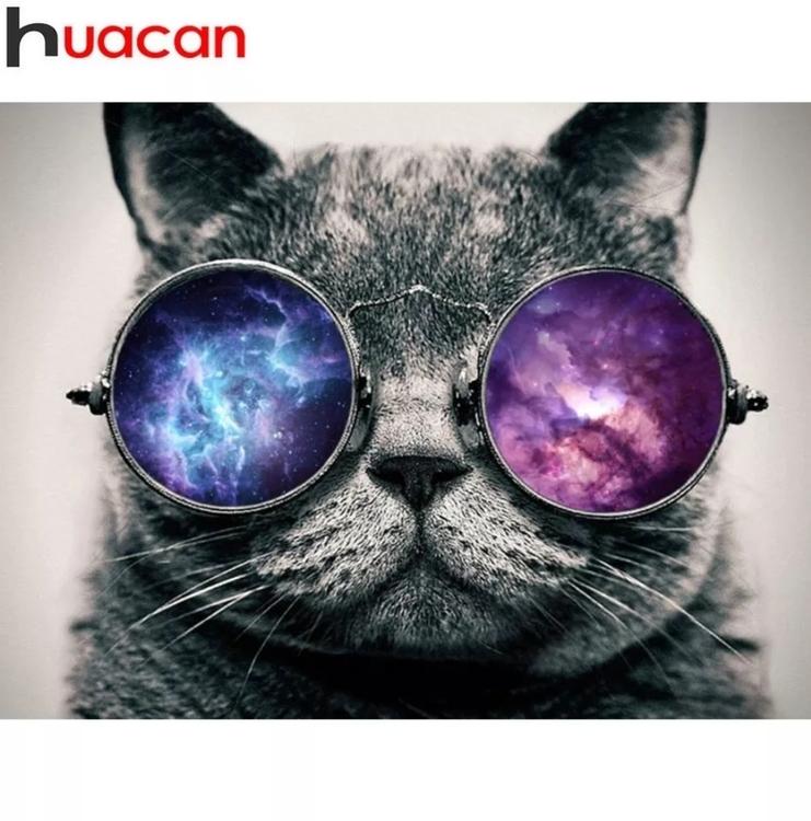 Diamanttavla Cat Glasses 30x40