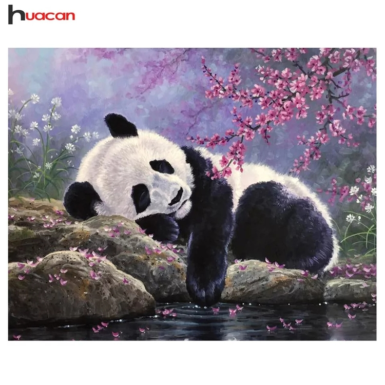 Diamanttavla (R) Panda Vid Vatten 40x50