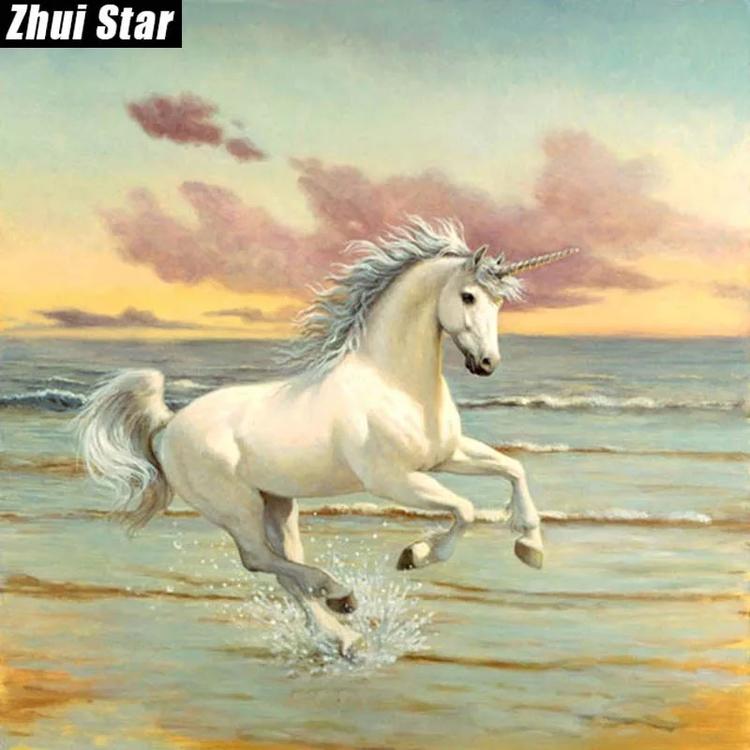 Diamanttavla Unicorn On The Beach 50x50