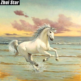 Diamanttavla Unicorn On The Beach 50x50