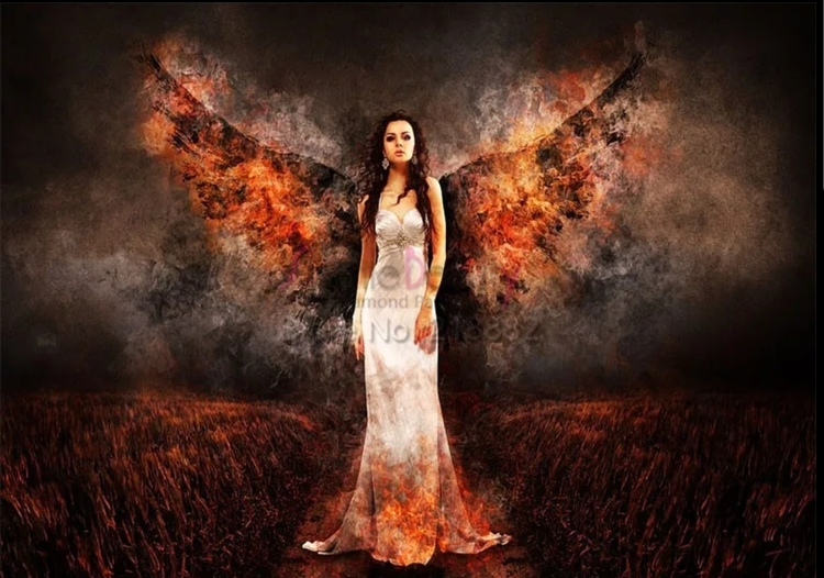 Diamanttavla Angel Black Wings 40x60
