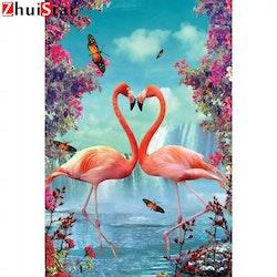 Diamanttavla Flamingos And Butterflies 40x50