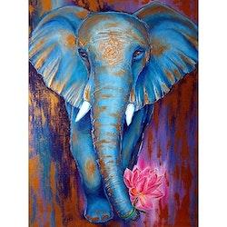 Diamanttavla Elephant Lotus 50x70