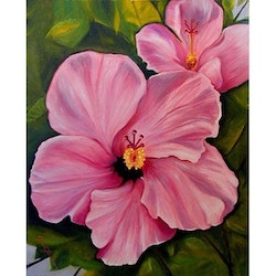 Diamanttavla Pink Exotic Flower 30x40