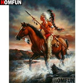 Diamanttavla Indian Riding In Water 40x50