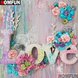 Diamanttavla Flowers Love 40x40