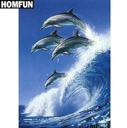SNART I BUTIK - Diamanttavla Dolphins Wave 40x50
