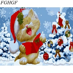 Paint By Numbers Singing Christmas Cat