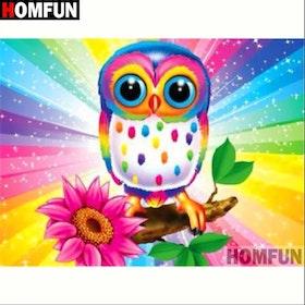 Diamanttavla Rainbow Owl 30x40
